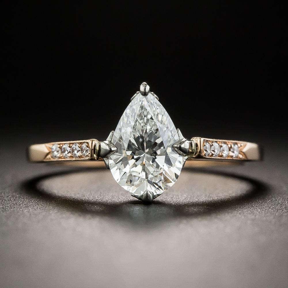 24731999b4b4b Lang Collection 1.02 Carat Pear Shape Diamond Ring - GIA E SI1