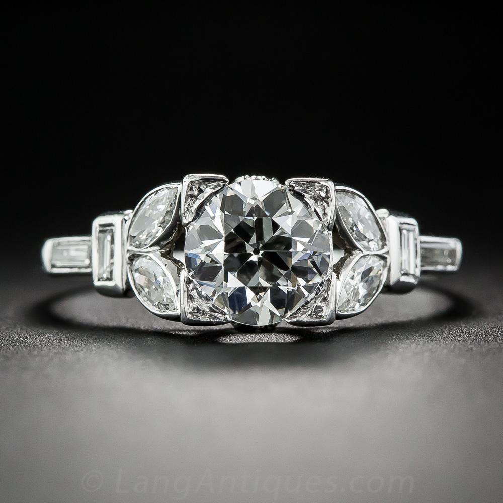 04 Carat Bands: 1.04 Carat Diamond Art Deco Engagement Ring