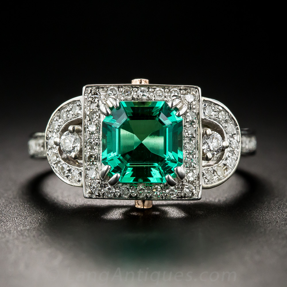1 17 Carat Gem Emerald And Diamond Ring Vintage