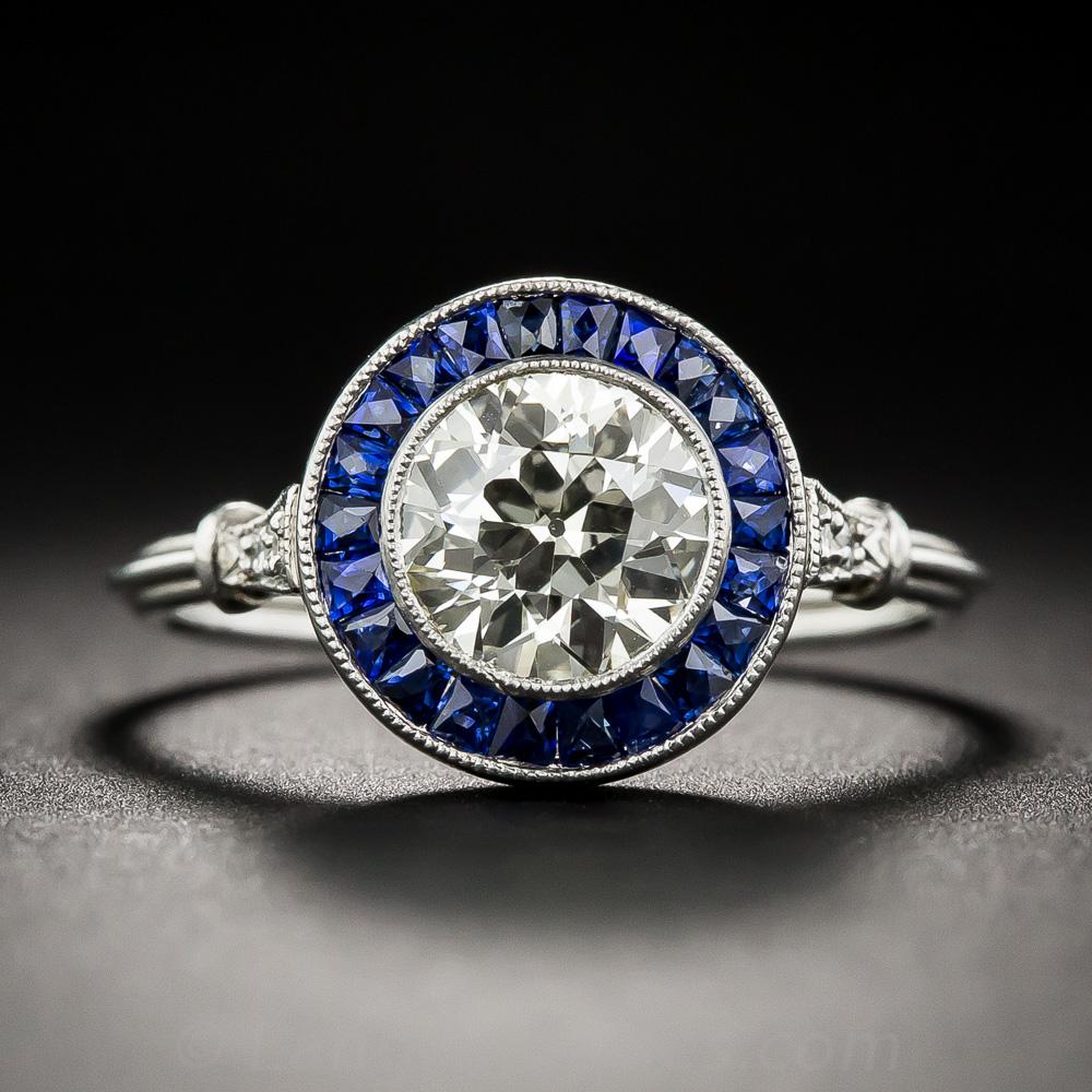 1 25 Diamond Art Deco Style Sapphire Halo Ring