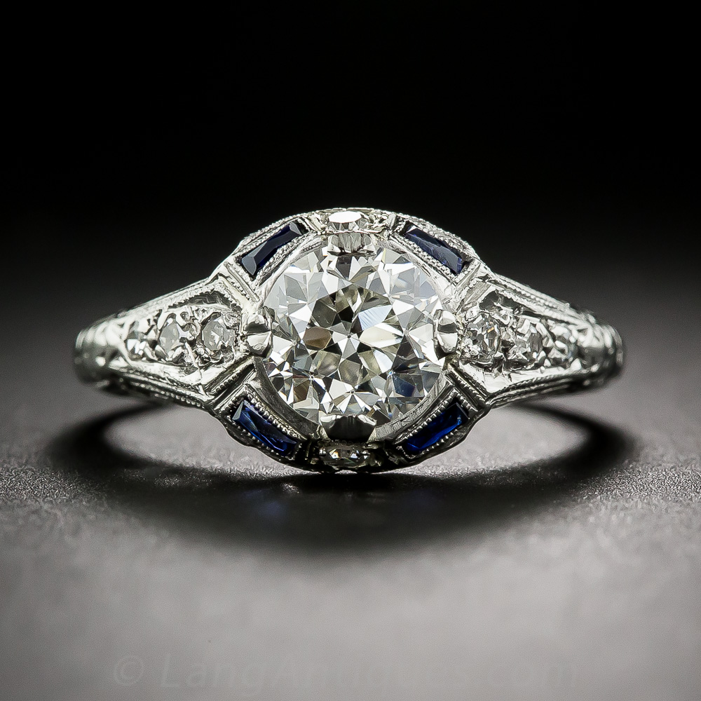 1 31 Carat European Cut Diamond And Sapphire Art Deco
