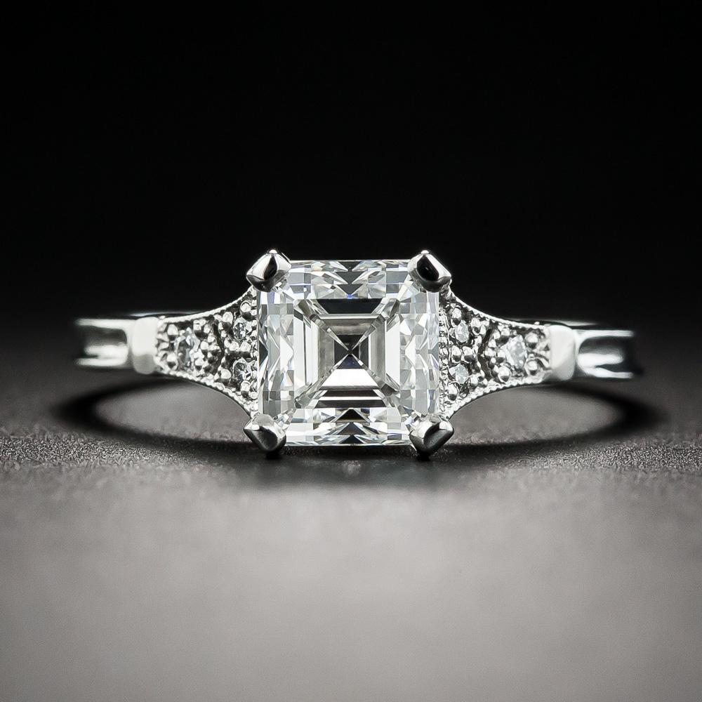 1 39 Carat Square Emerald Cut Diamond Ring Gia F Vs1
