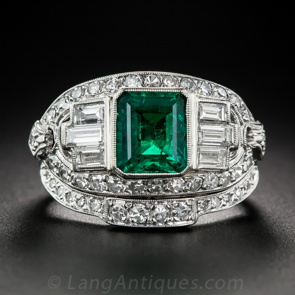1 50 Emerald And Diamond Art Deco Ring With Matching Band