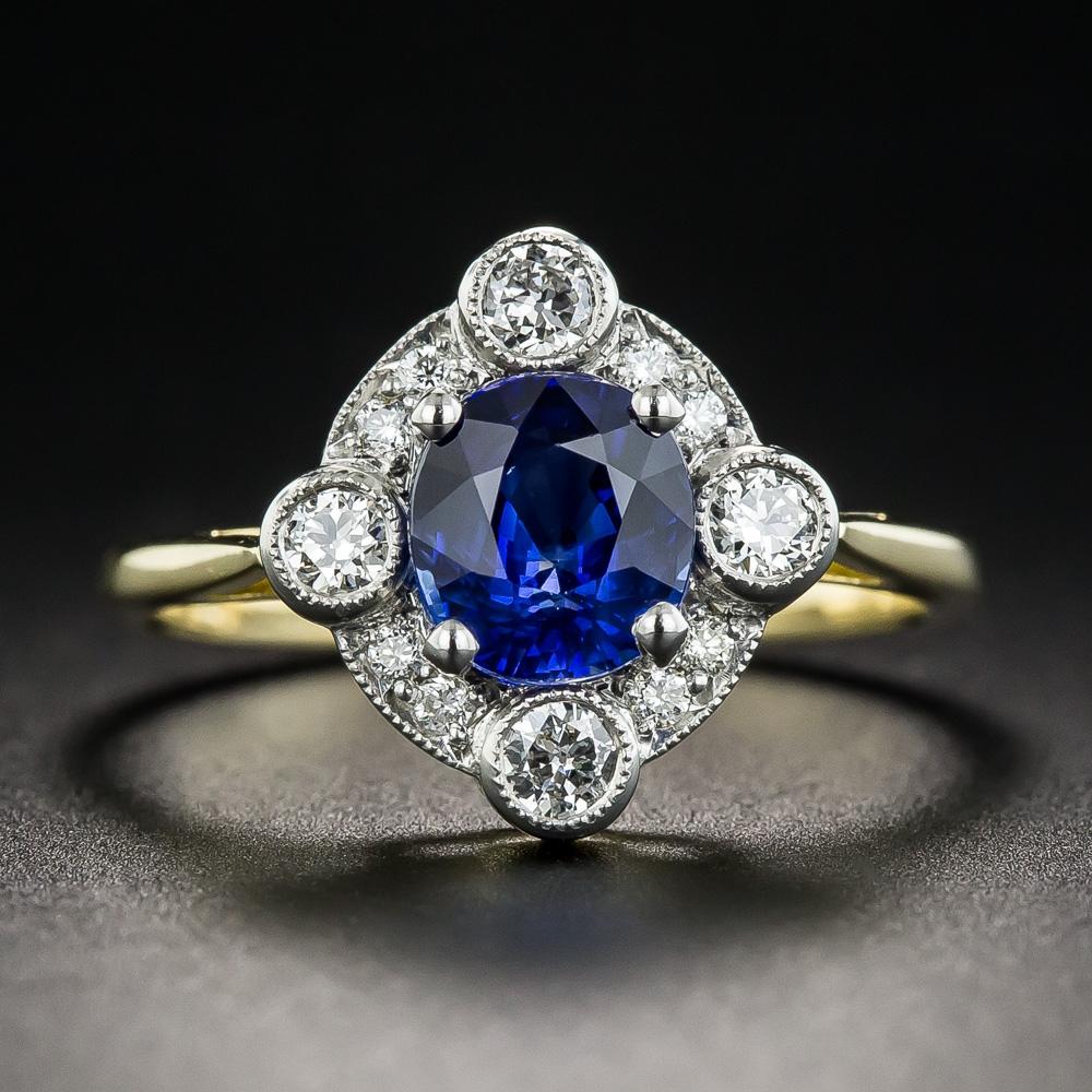 1 52 Carat Sapphire Diamond Platinum And 18k Vintage Style