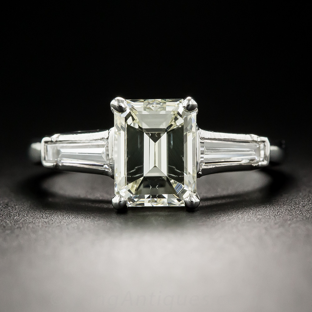 1 65 Carat Emerald Cut Diamond Platinum Solitaire