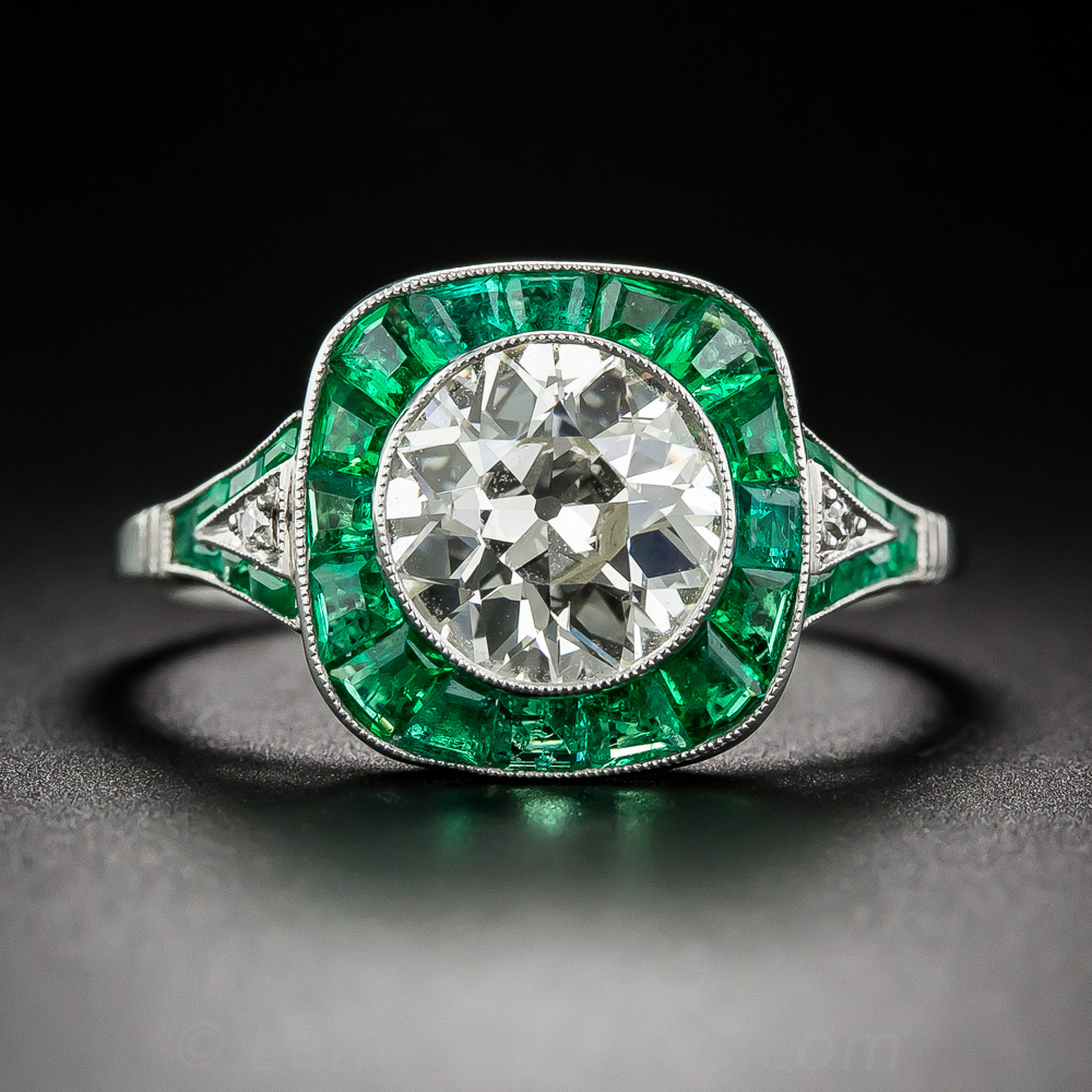 1 81 Carat Diamond And Emerald Art Deco Style Engagement Ring