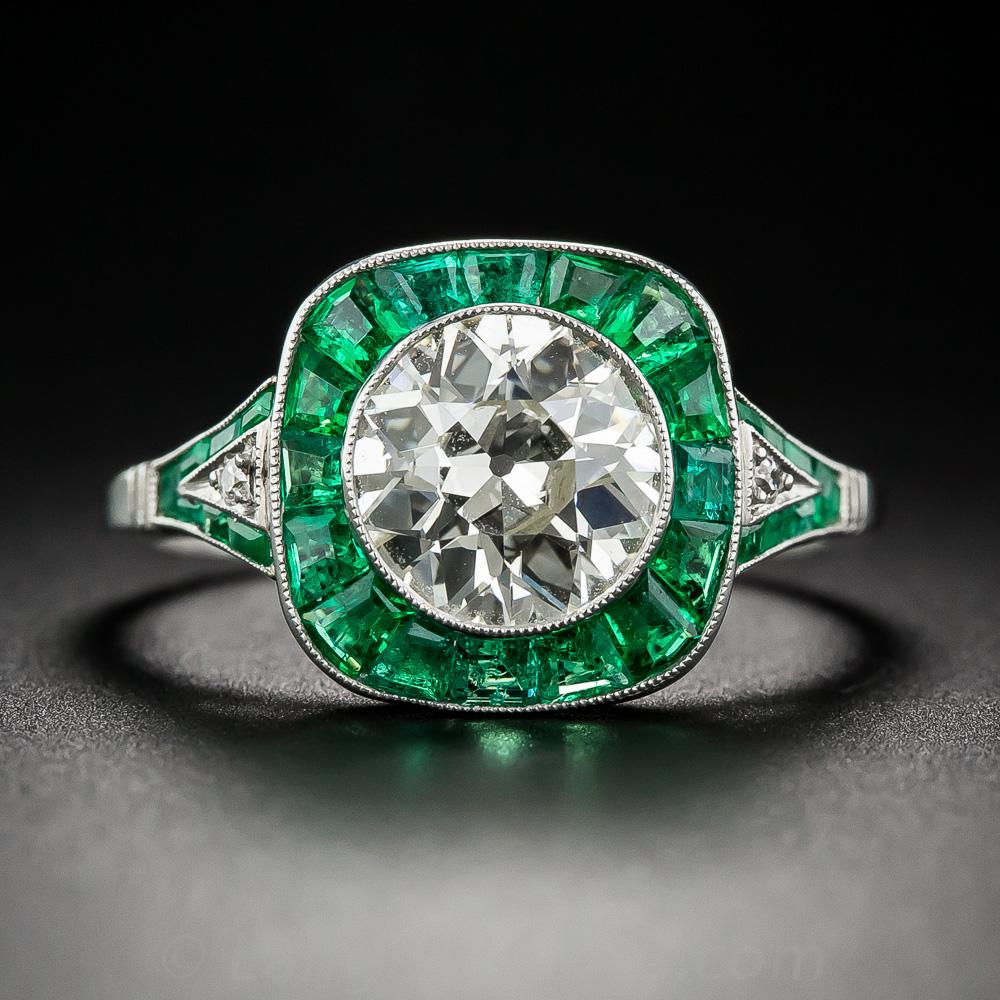 1.81 Carat Diamond And Emerald Art Deco Style Engagement Ring