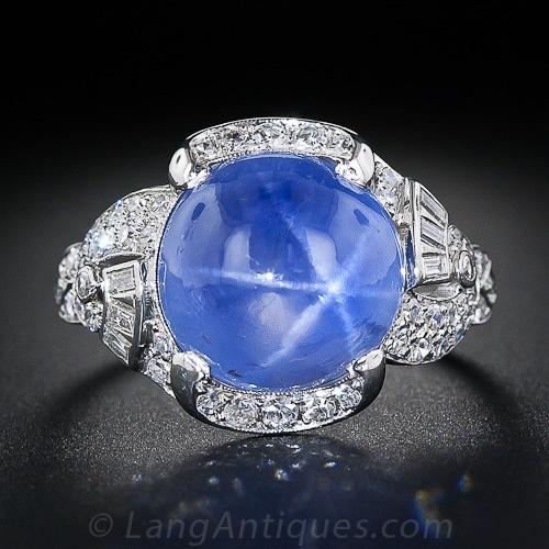 15 Carat Blue Star Sapphire And Diamond Art Deco Ring