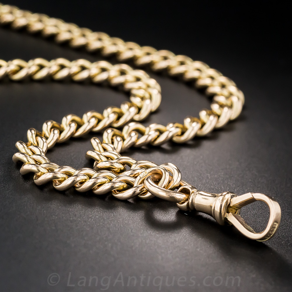 15k Rose Gold English Watch Chain Necklace