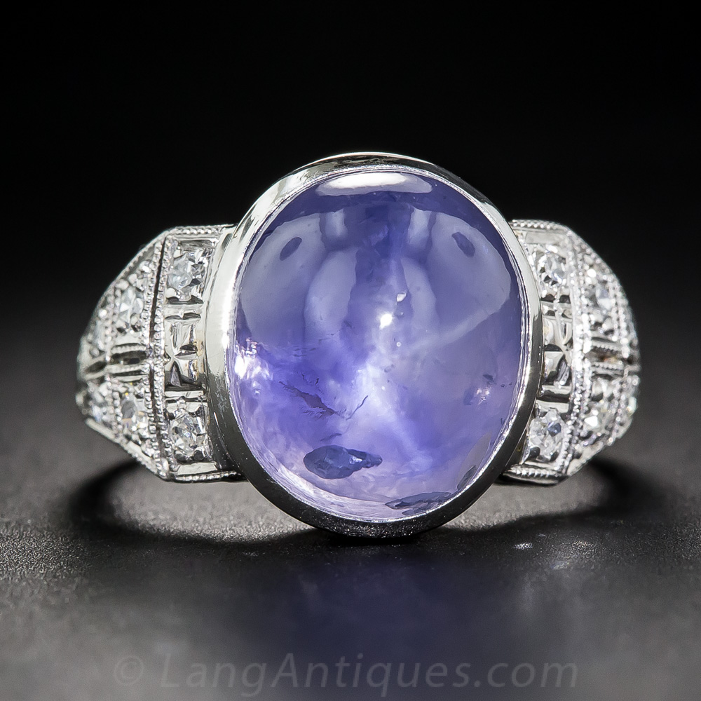 18 Carat No Heat Burma Cabochon Sapphire Art Deco Ring
