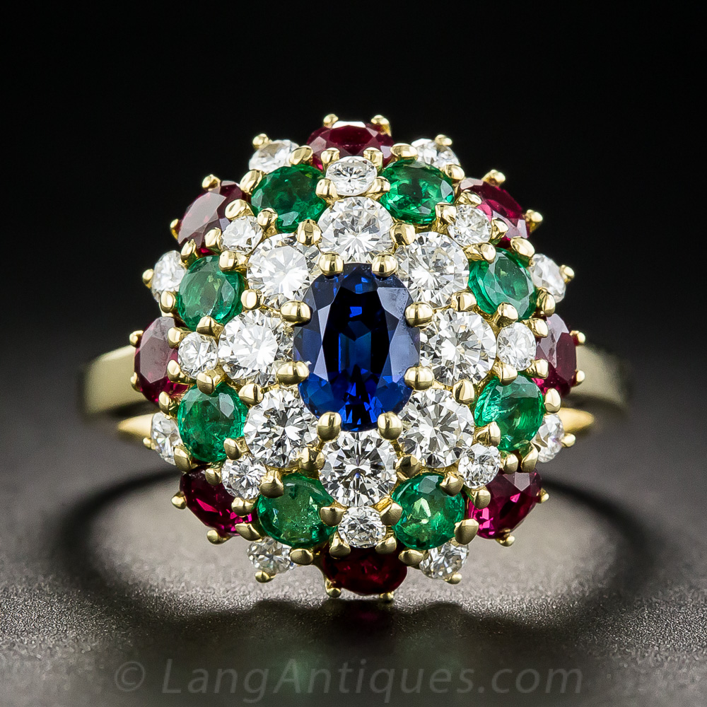 18k Multi Color Diamond Sapphire Emerald And Ruby Ring