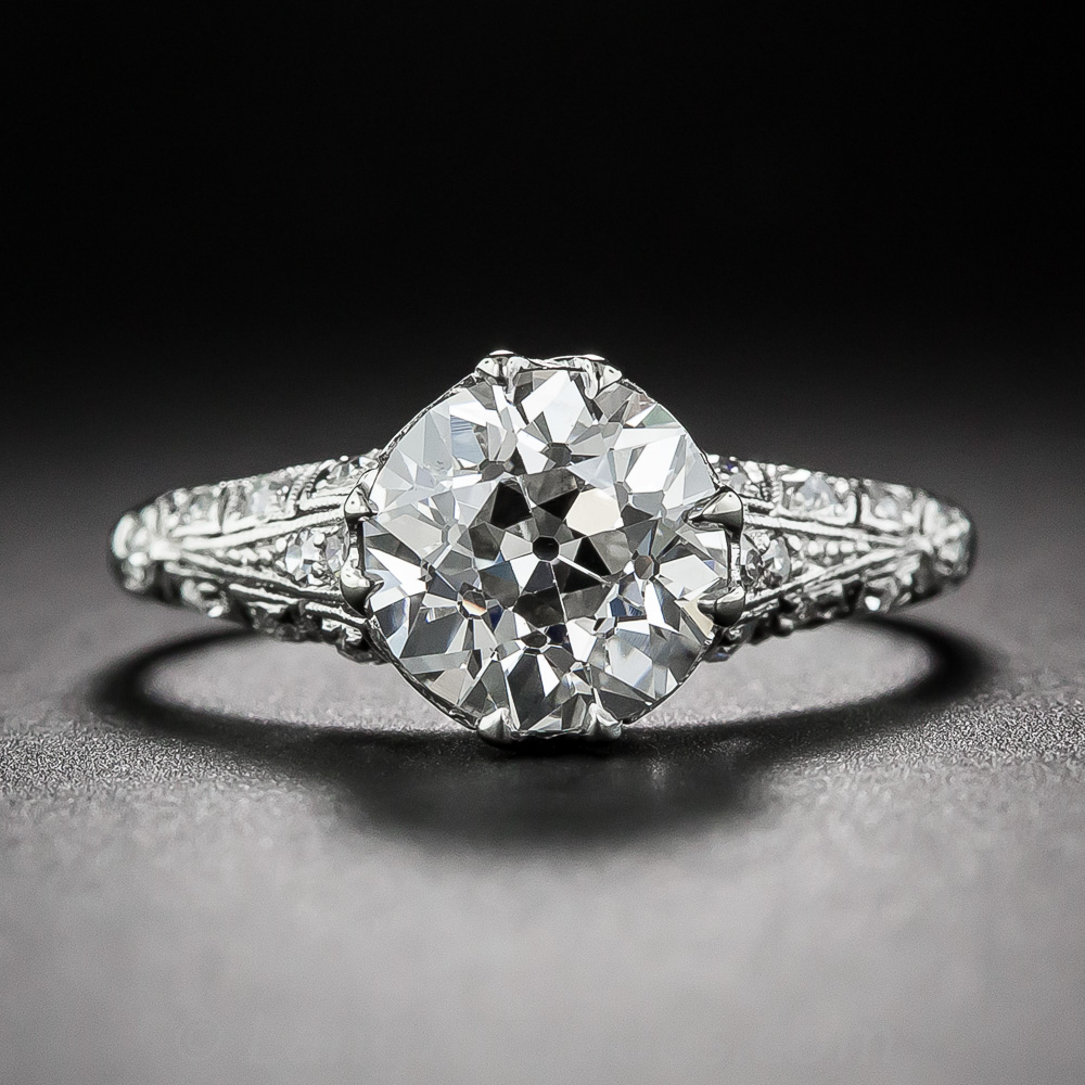2 00 Carat European Cut Diamond Antique Engagement Ring