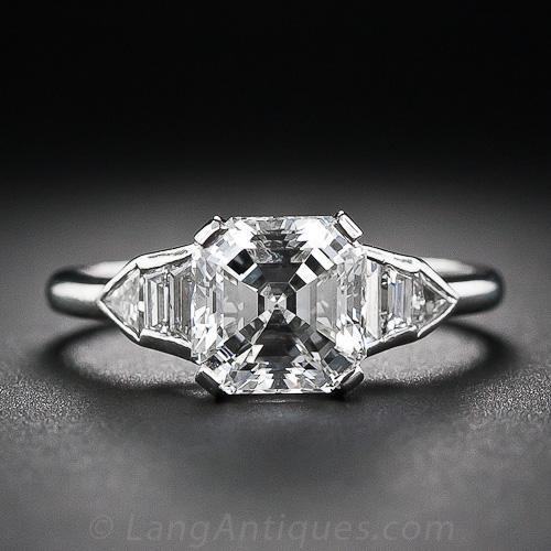 202 asschercut diamond art deco ring