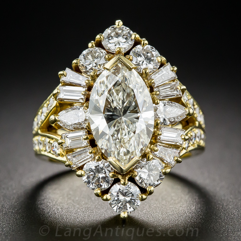2 03 Carat Marquise Estate Diamond Ring Vintage
