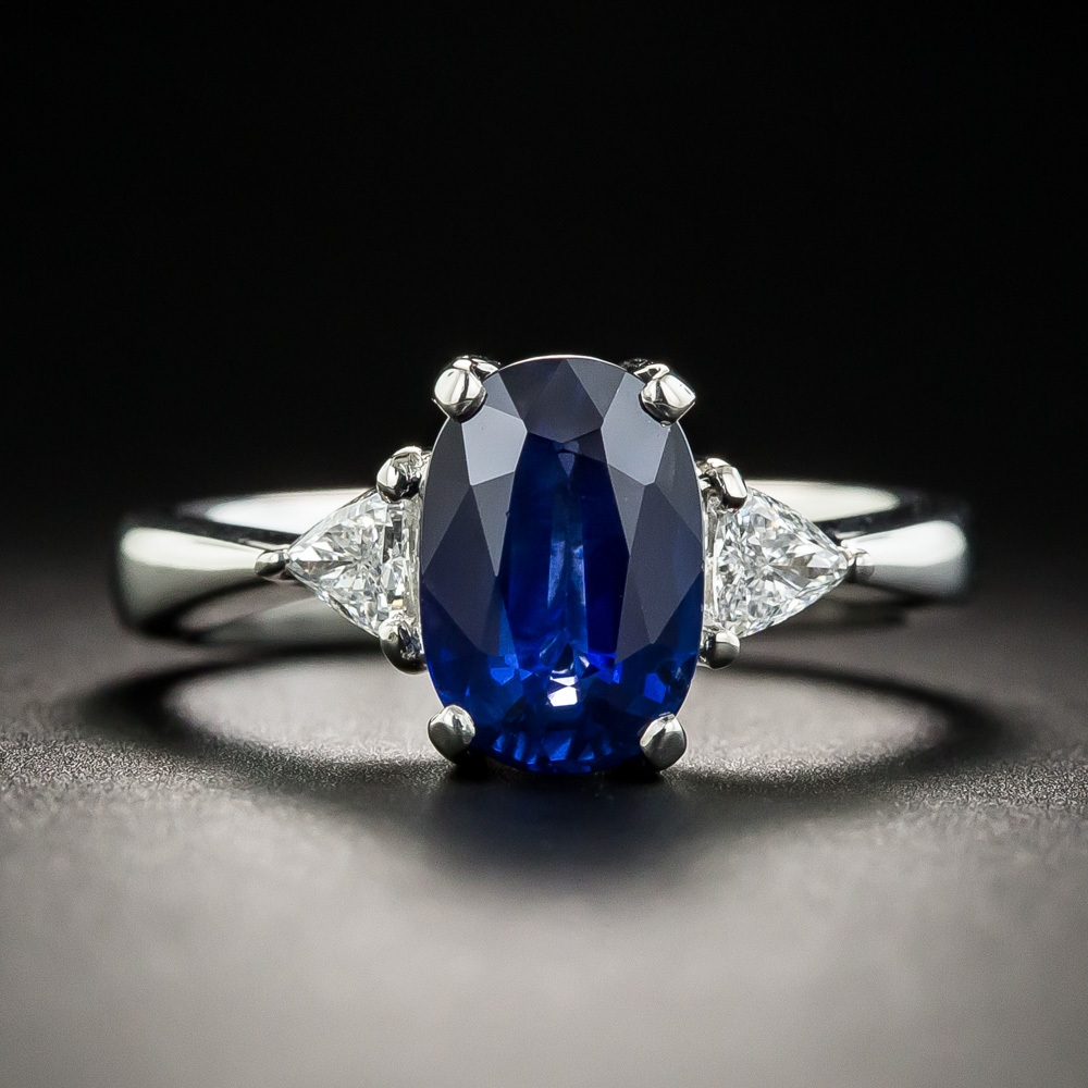 2 03 Carat Oval Sapphire Platinum Diamond Ring
