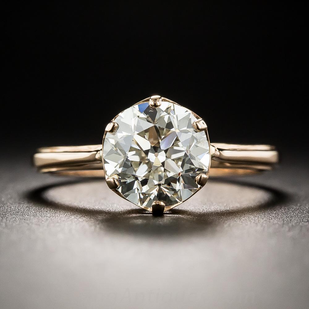 2 05 Carat Old European Cut Diamond Solitaire In 18k Rose Gold