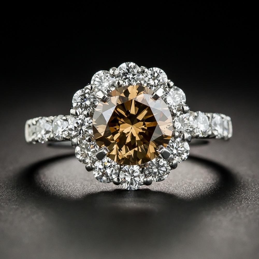 2 10 Natural Fancy Dark Yellowish Brown Diamond Ring Gia
