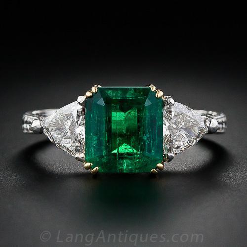 2 34 Carat Emerald And Diamond Three Stone Ring