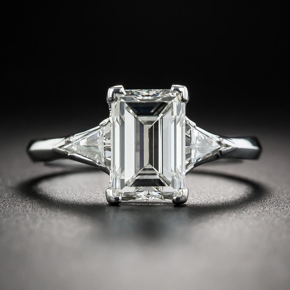2 34 Carat Emerald Cut Diamond Platinum Engagement Ring