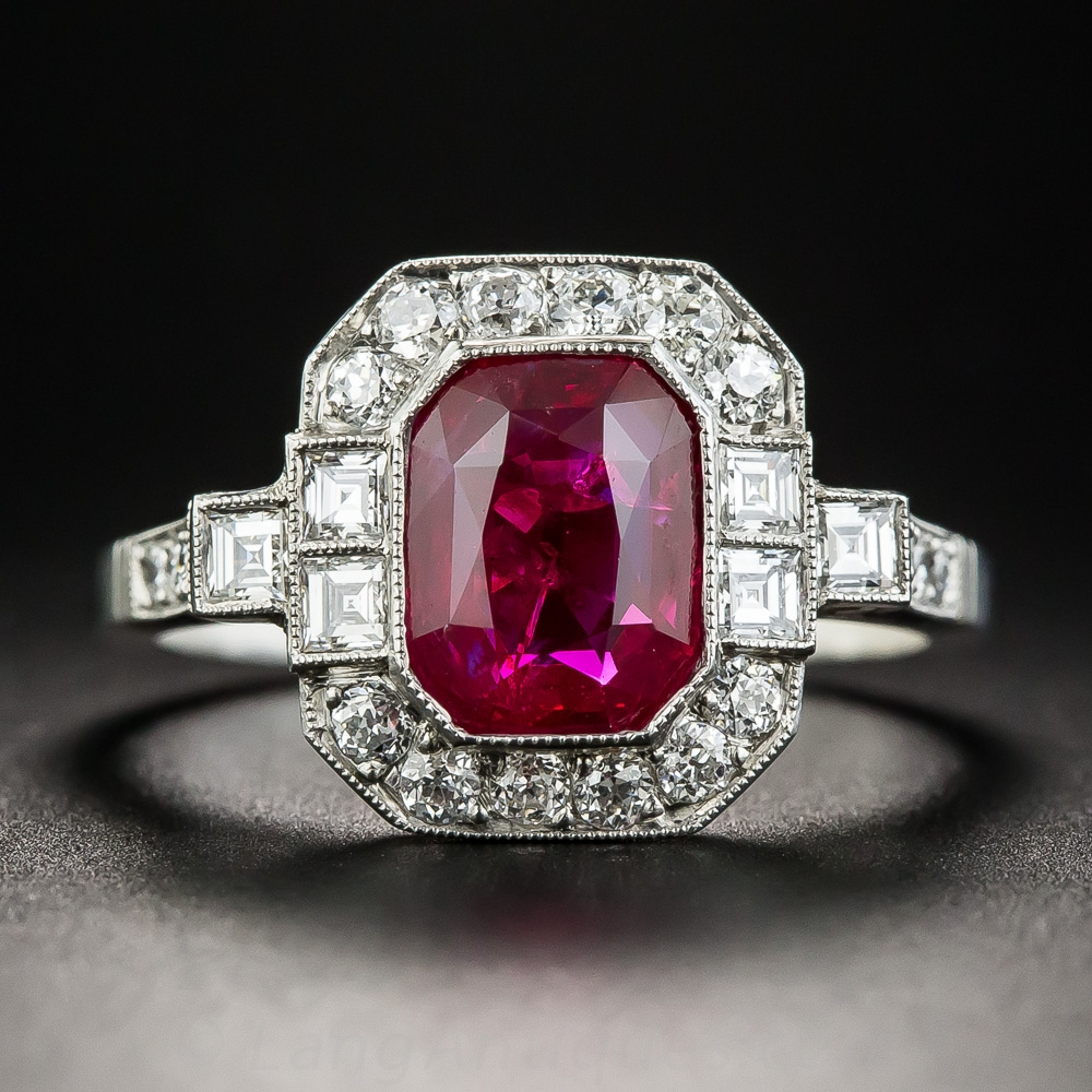 2 34 Carat No Heat Burma Emerald Cut Ruby And Diamond Ring