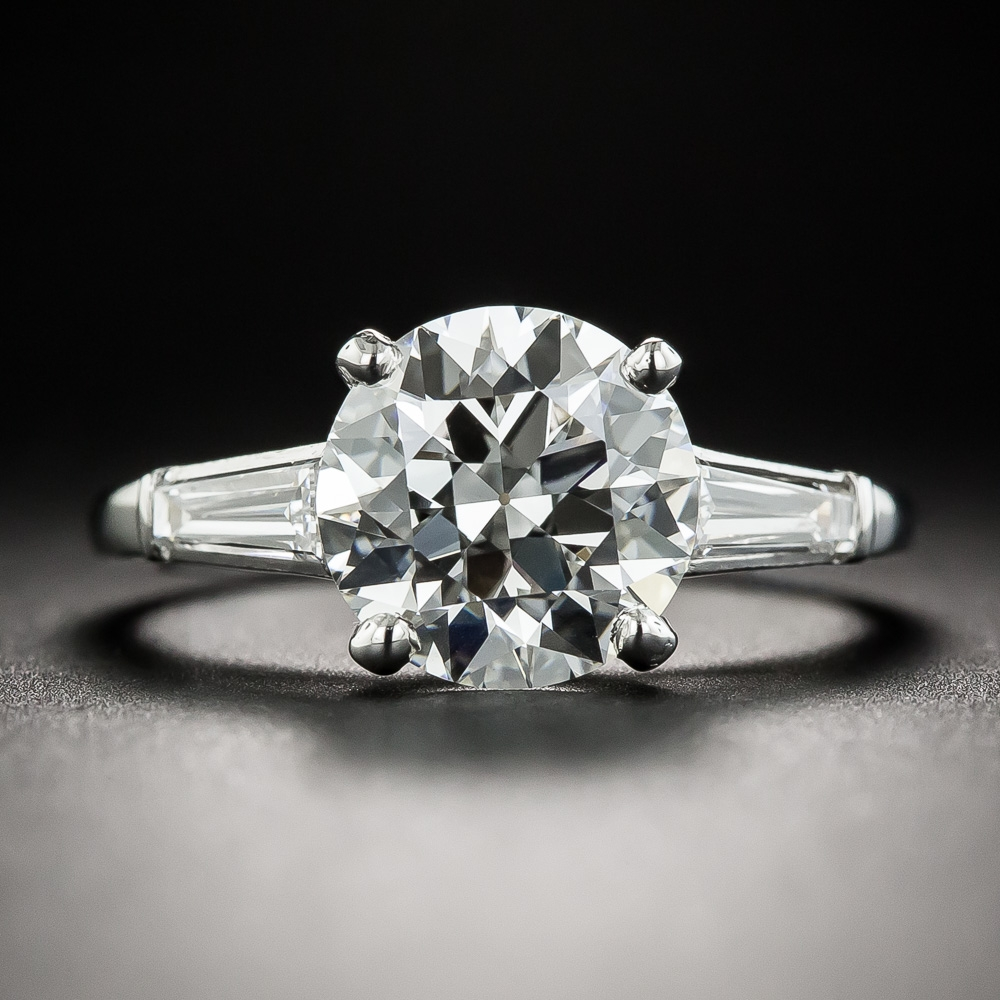 Mid Century 2 58 Carat European Cut Diamond Solitaire Ring