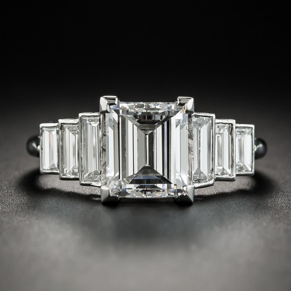 2 60 Carat Rectangular Step Cut Diamond Ring Gia F Vs2
