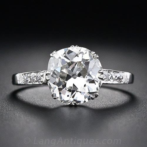 264 carat antique cushion cut diamond engagement ring