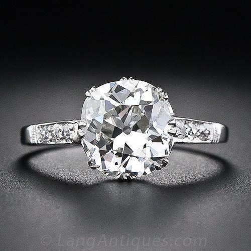 2 64 Carat Antique Cushion Cut Diamond Engagement Ring
