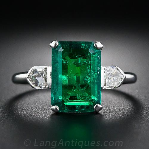 2 77 Carat Emerald And Bullet Cut Diamond Art Deco Ring