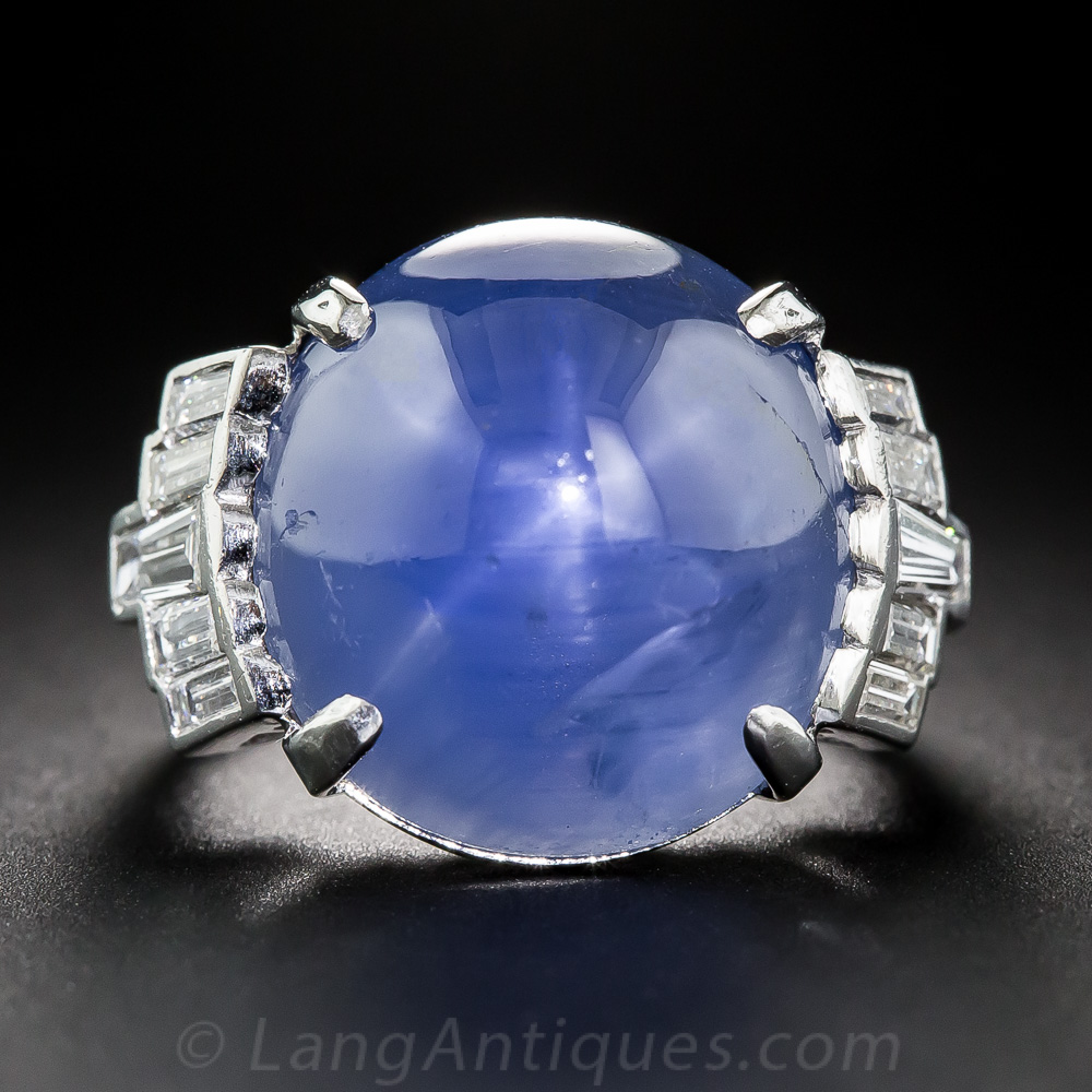 23 Carat Star Sapphire Platinum And Diamond Art Deco Ring