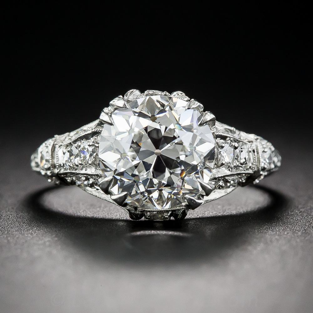 3 14 European Cut Diamond Edwardian Ring Gia G Vvs1
