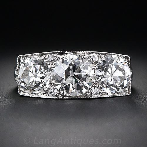 3 27 Carat Total Weight Art Deco Three Stone Diamond Ring