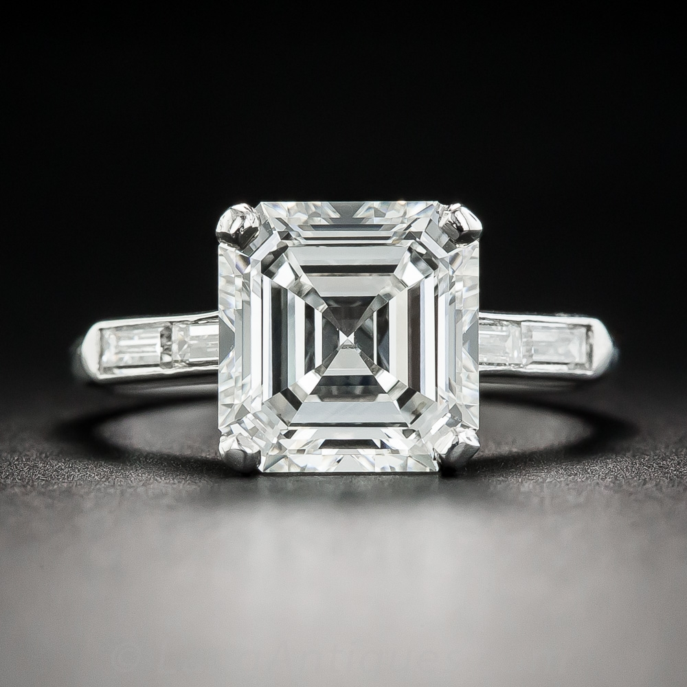 3 30 Carat Asscher Cut Diamond Ring Gia H Vvs1 Vintage