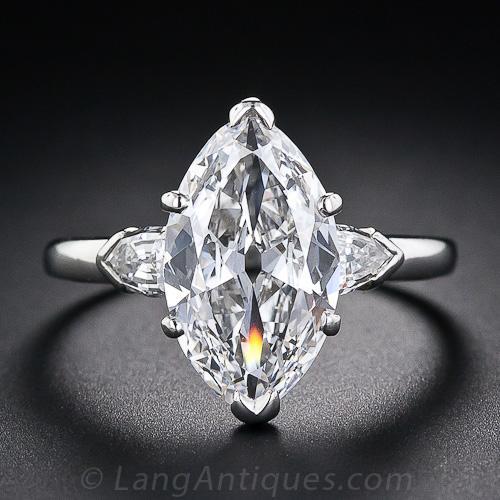 3 39 Carat Antique Marquise Diamond Ring Gia E