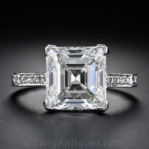 3 46 Carat Edwardian Carr 233 Square Cut Diamond Ring