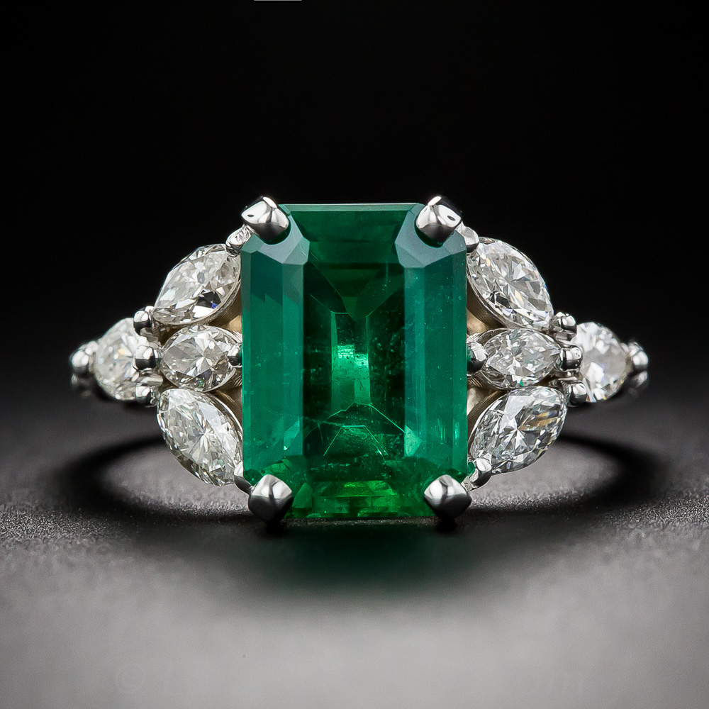 346 carat emerald and diamond estate ring