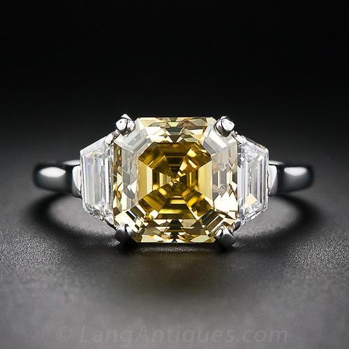 365 carat asschercut fancy deep orangy yellow diamond ring