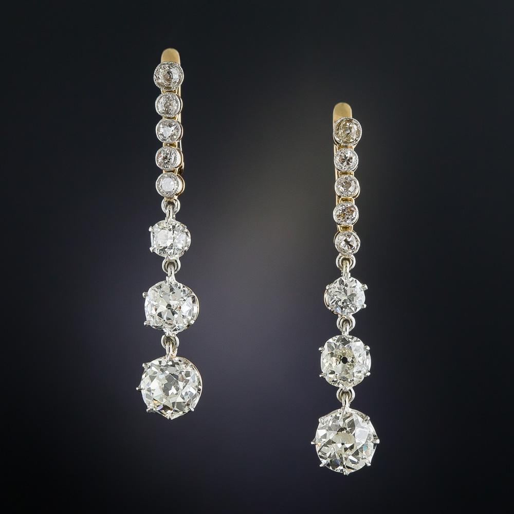 375 carat long diamond drop earrings