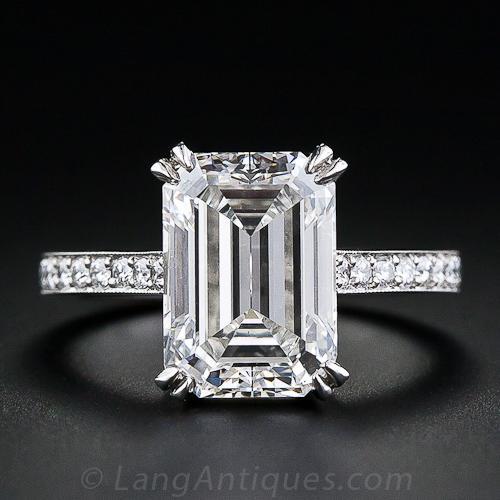 4 00 Carat Emerald Cut Diamond Engagement Ring Gia G Si1