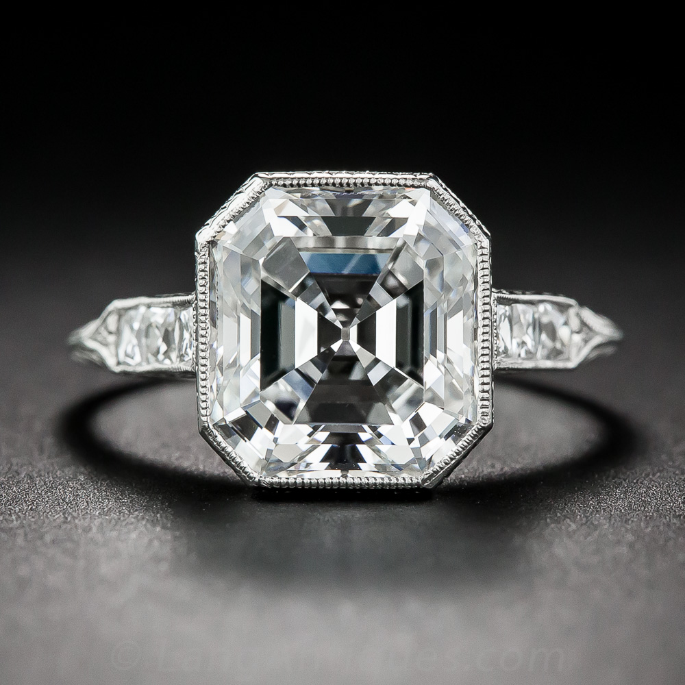 4.04 ct. Asscher-Cut Diamond and Platinum Ring GIA H/VS1