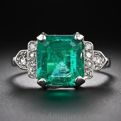 4 18 Carat Art Deco Emerald And Diamond Ring