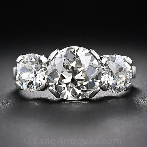 4 35 Carat Total Weight Vintage Diamond Three Stone Ring
