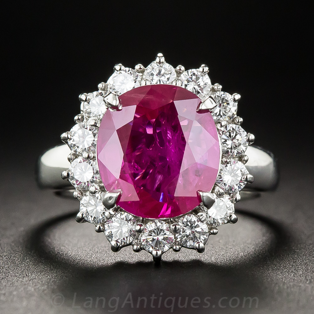 Custom Burma Ruby Ring: 4.48 Carat Burma Ruby, Platinum And Diamond Ring