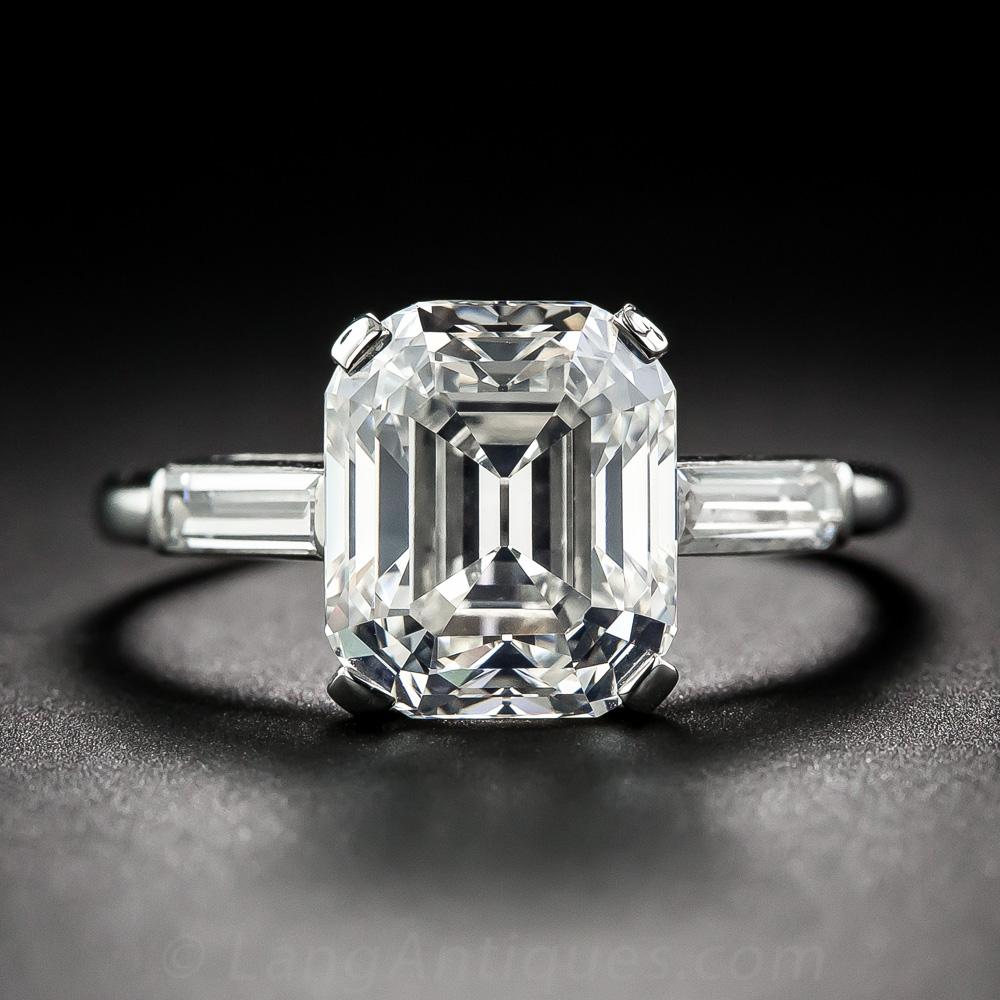4 57 Carat Vintage Emerald Cut Diamond Ring Gia G Vs1