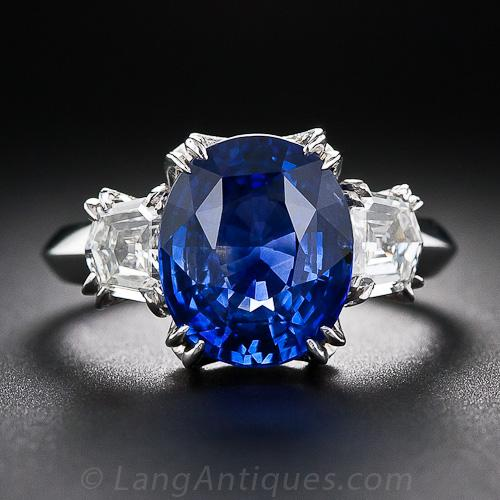 5 16 Carat Oval Sapphire And Diamond Ring