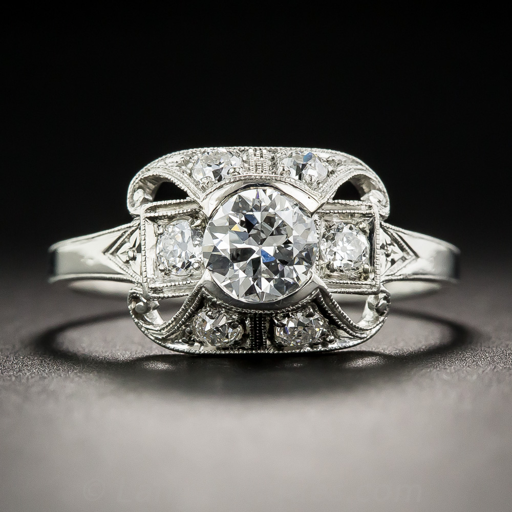 51 carat art deco platinum diamond ring gia f vs1 for Deco 51