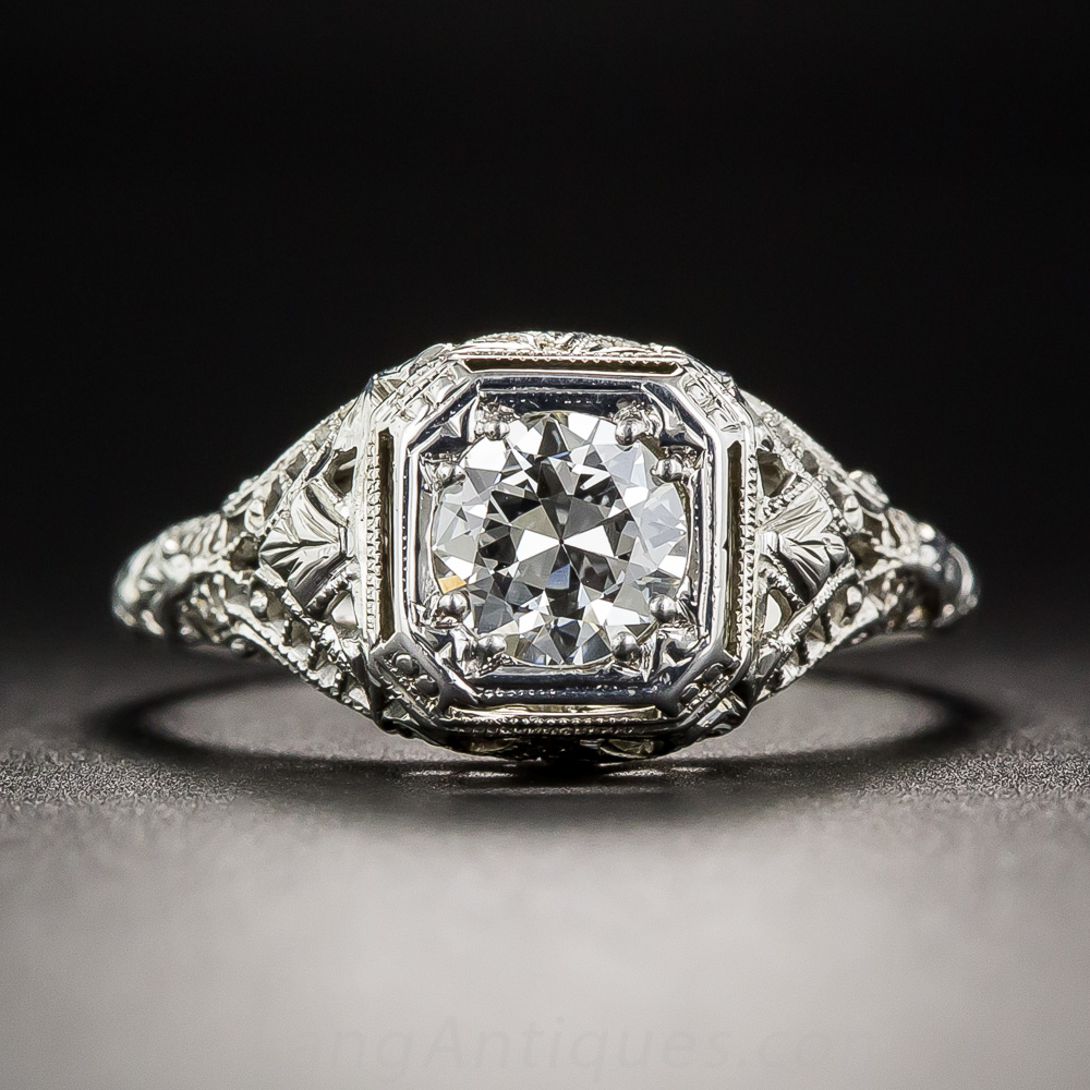 55 Carat Art Deco Filigree Engagement Ring