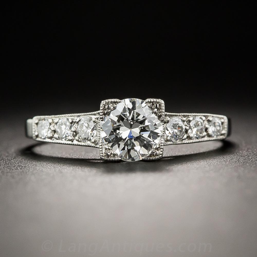60 Carat Diamond And Platinum Vintage Engagement Ring