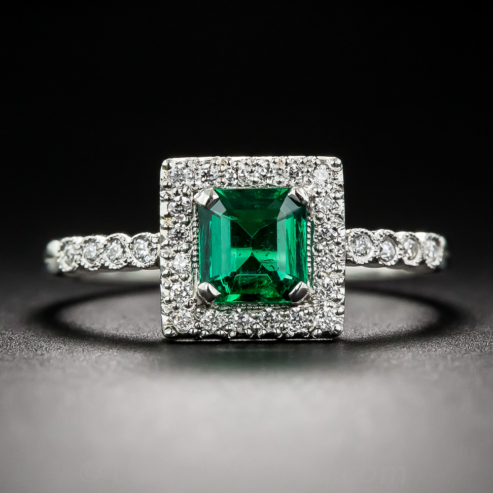 61 Carat Emerald And Diamond Platinum Halo Ring Vintage