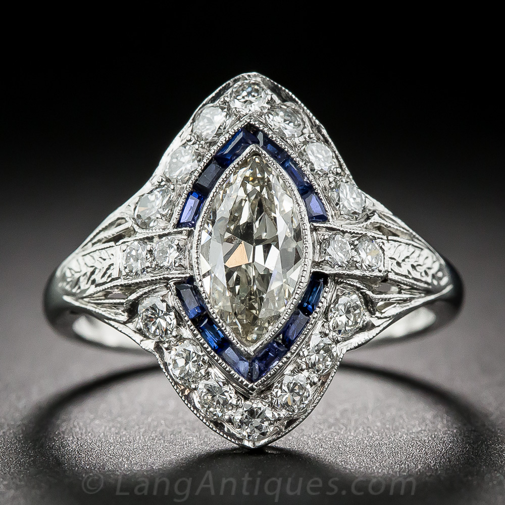 75 Carat Art Deco Marquise Diamond And Sapphire Ring